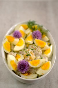 Potato and Egg Salad with Chive Blossoms