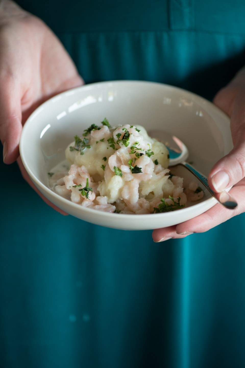 Steamed Cauliflower with Wine, Herbs, and Creamy Shrimp Sauce from Norwegian-American Food Writer Daytona Strong