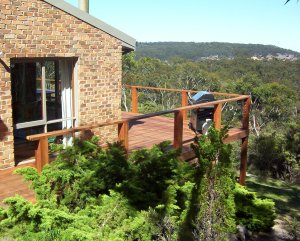 Merbau deck with stainless steel wire and timber balustrading