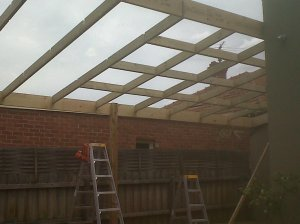 During construction: detail of rafters and purlins