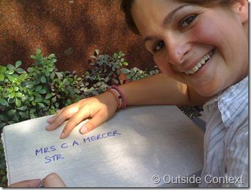 Cesca writes the address