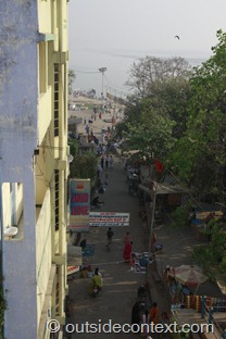 Our Varanasi hotel room view in the AM