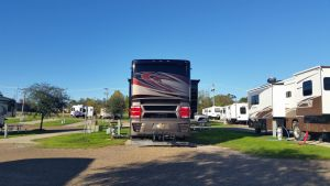 Barely Fitting In Our Spot At Ameristar RV Park In Vicksburg, MS