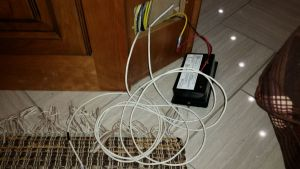 Wires run to the inside of the coach