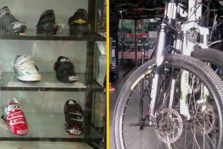 Biking equipment on display