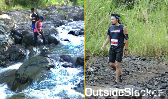 Nature's Trail Discovery Run participants cross a river