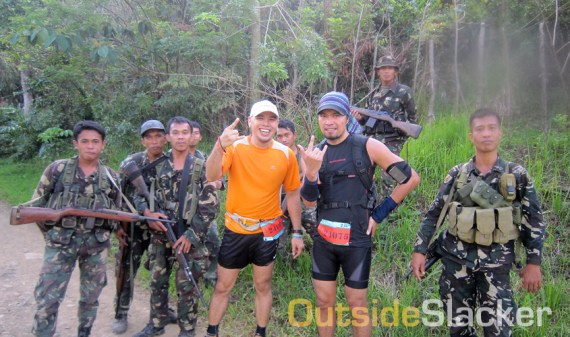 Soldiers guard the route of the Love a Tree Ultramarathon