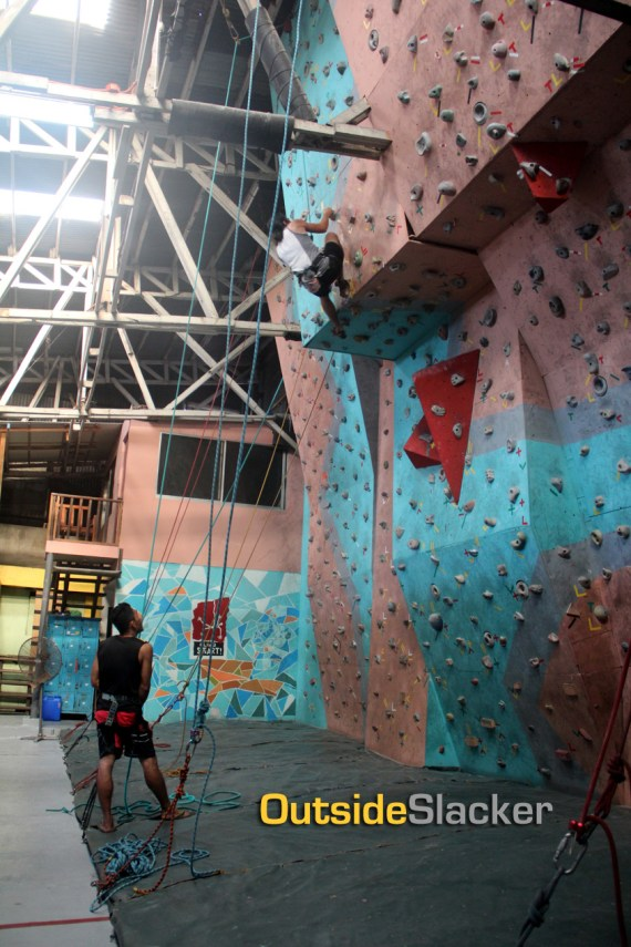 Climber on a overhangingwall