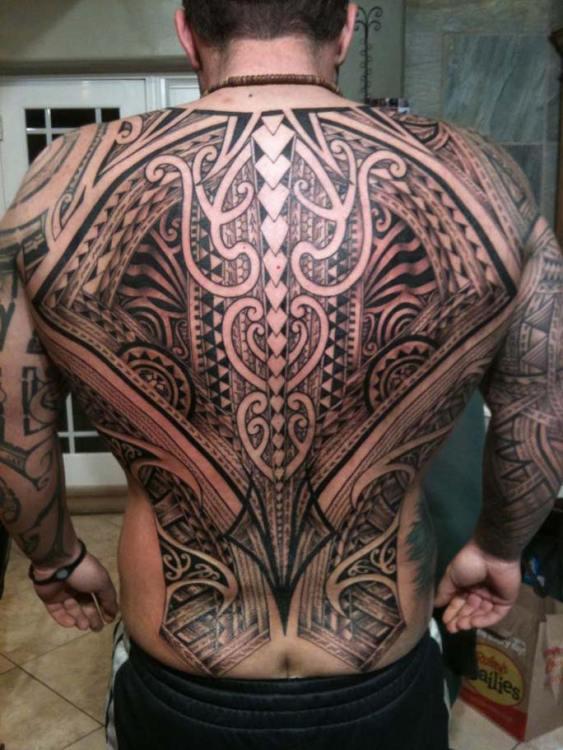 Polynesian Full Back Tattoo