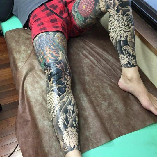 Coloured Tribal Leg Tattoo