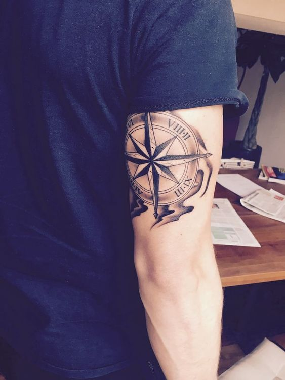 Cool Compass Arm Tattoo