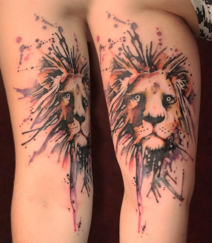 Colourful Lion Tattoo