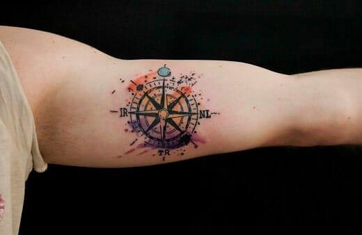 coloured compass tattoo