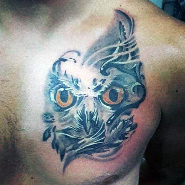 3D Owl Chest Tattoo