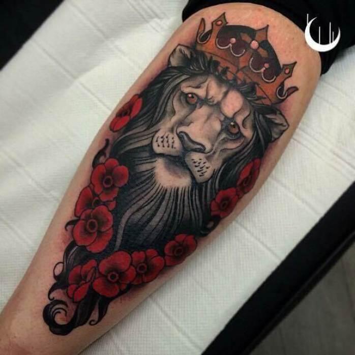 Lion & Roses Arm Tattoo