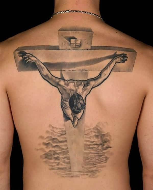 Jesus On A Cross Back Tattoo