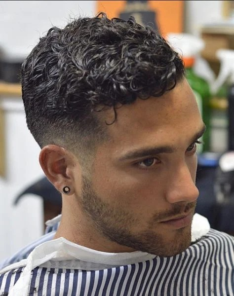 Curly Crew Cut Low Fade