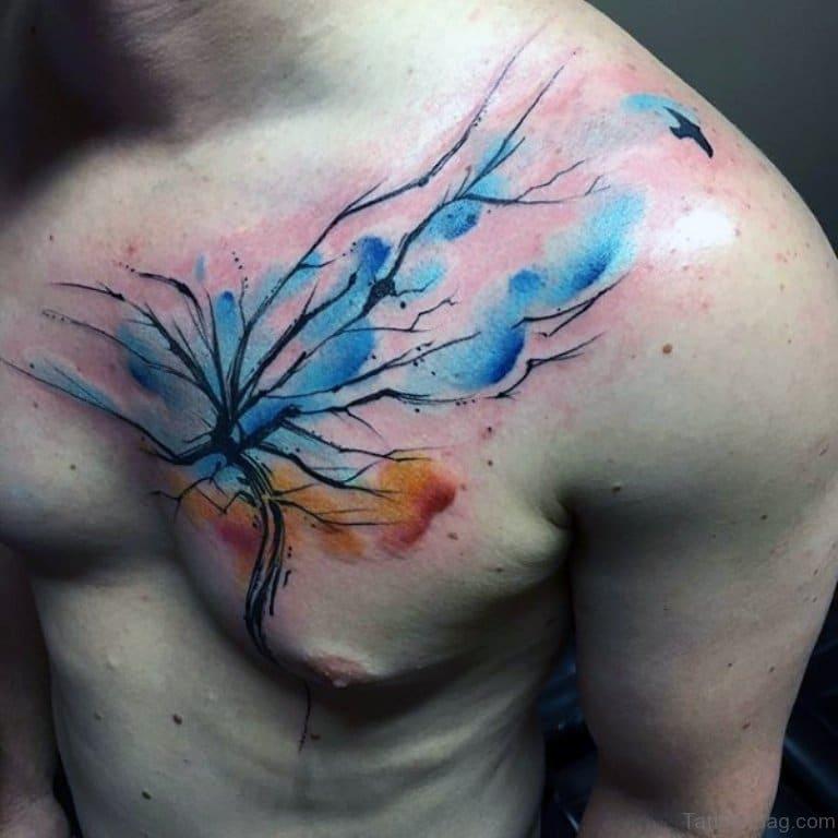 Blue Watercolour Tree Tattoo