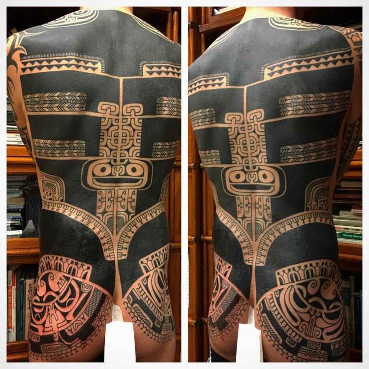 Maori Full Tribal Back Tattoo