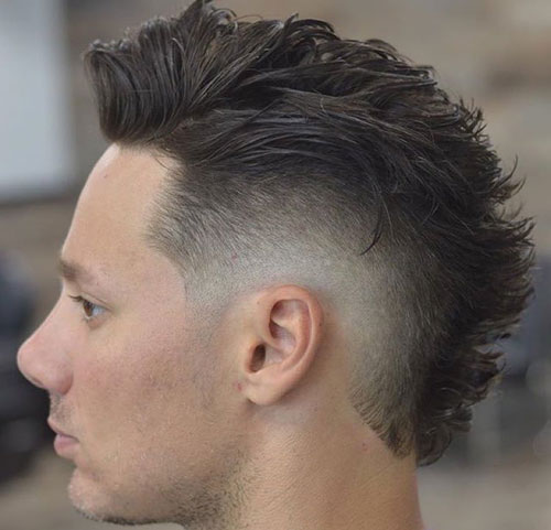Modern Faux Hawk with Low Burst Fade