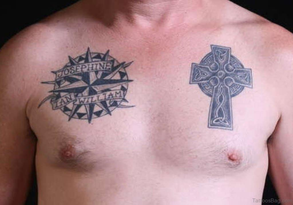 Nautical Compass & Celtic Chest Tattoo