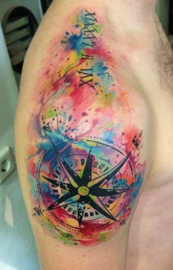 Watercolour Arm Compass Tattoo
