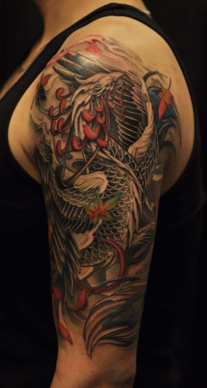 Amazing Phoenix Half Sleeve Tattoo