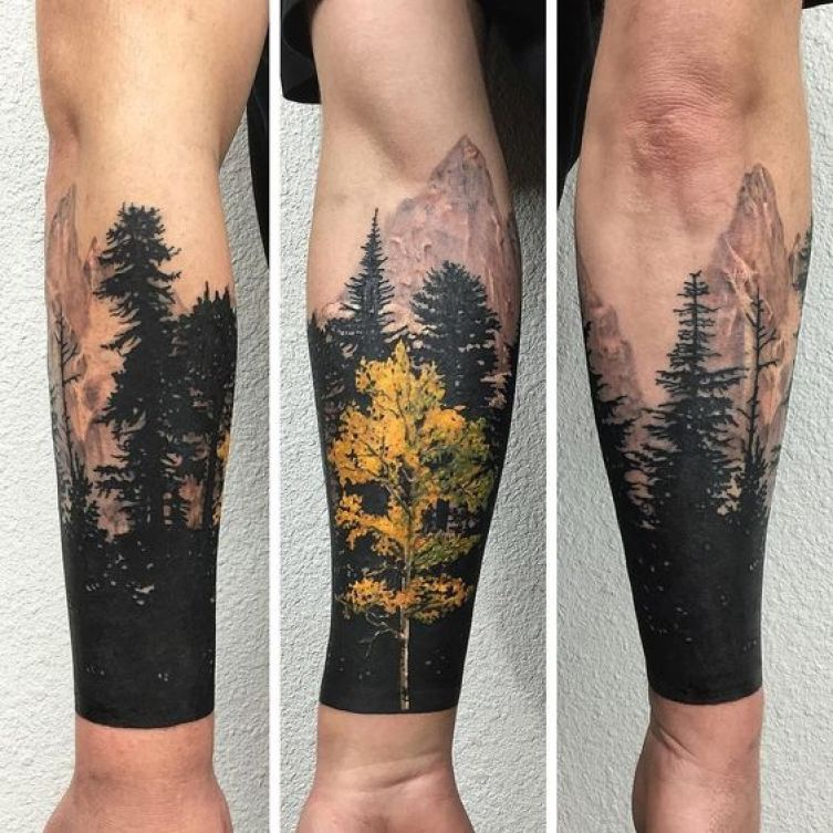 Coloured Forearm Tree Tattoo