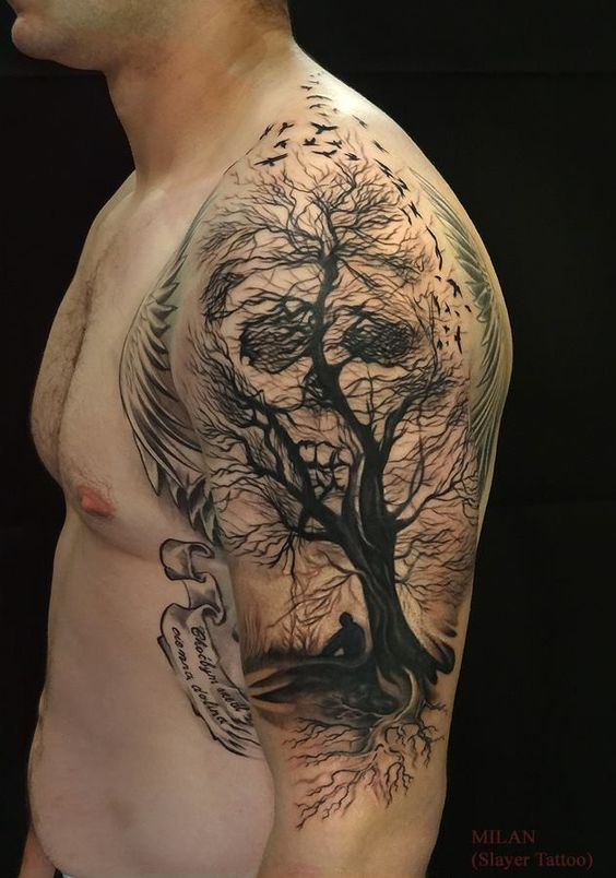 Skull & Tree Arm Tattoo