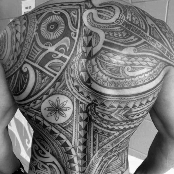 Black & Grey Shaded Tribal Back Tattoo