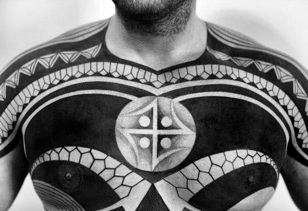 Cool Tribal Chest Tattoo