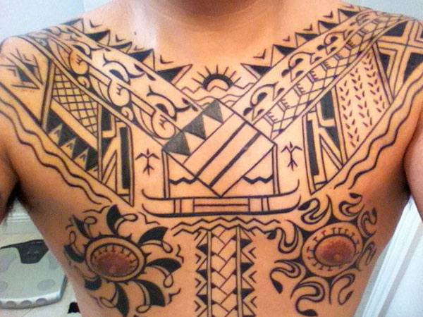 Cool Tribal Chest Tattoo