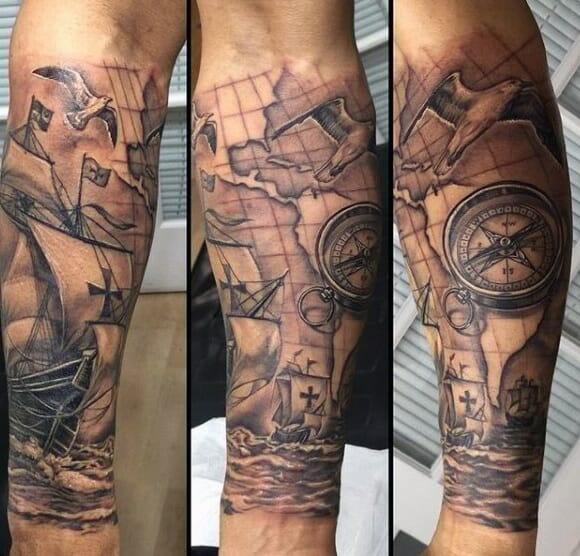 clock and compass tattoo
