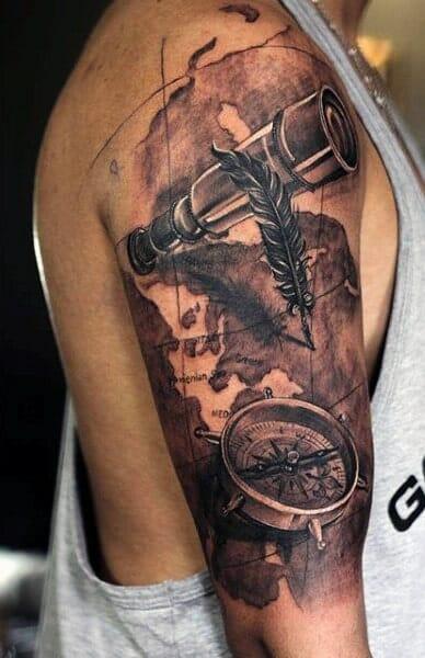 arm compass tattoo
