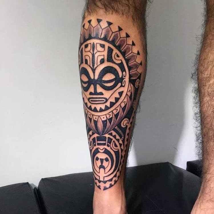 Cool Tribal Leg Tattoo