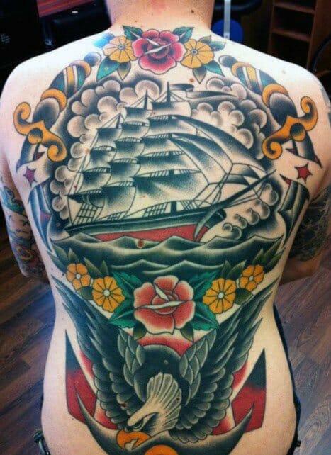 Nautical Themed Back Tattoo