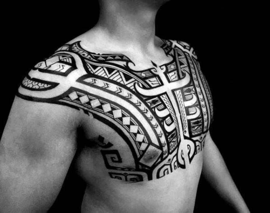 creative tribal chest tattoo