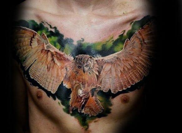 Flying Barn Owl Chest Tattoo