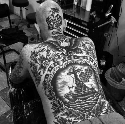 Full Back Old School Tattoo