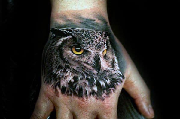 Owl Hand Tattoo