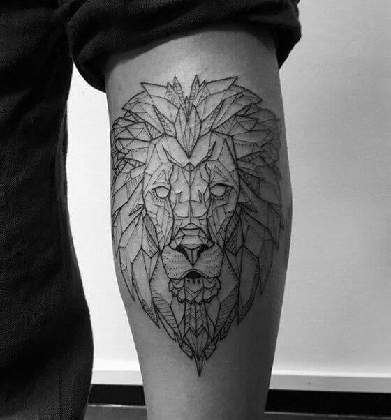 Geometric Lion Mens Leg Tattoo