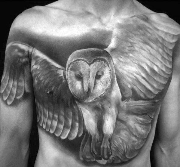 Realistic Owl Chest Tattoo