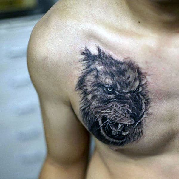 Lion Face Chest Tattoo