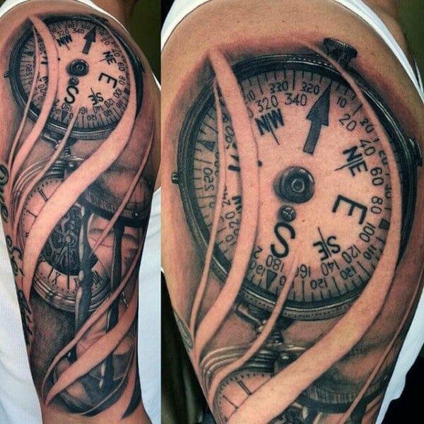 Detailed Compass Tattoo