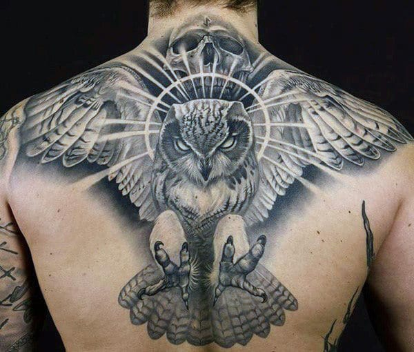 Male Owl Back Tattoo