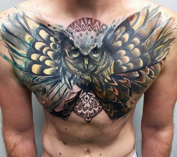 New School Owl Tattoo