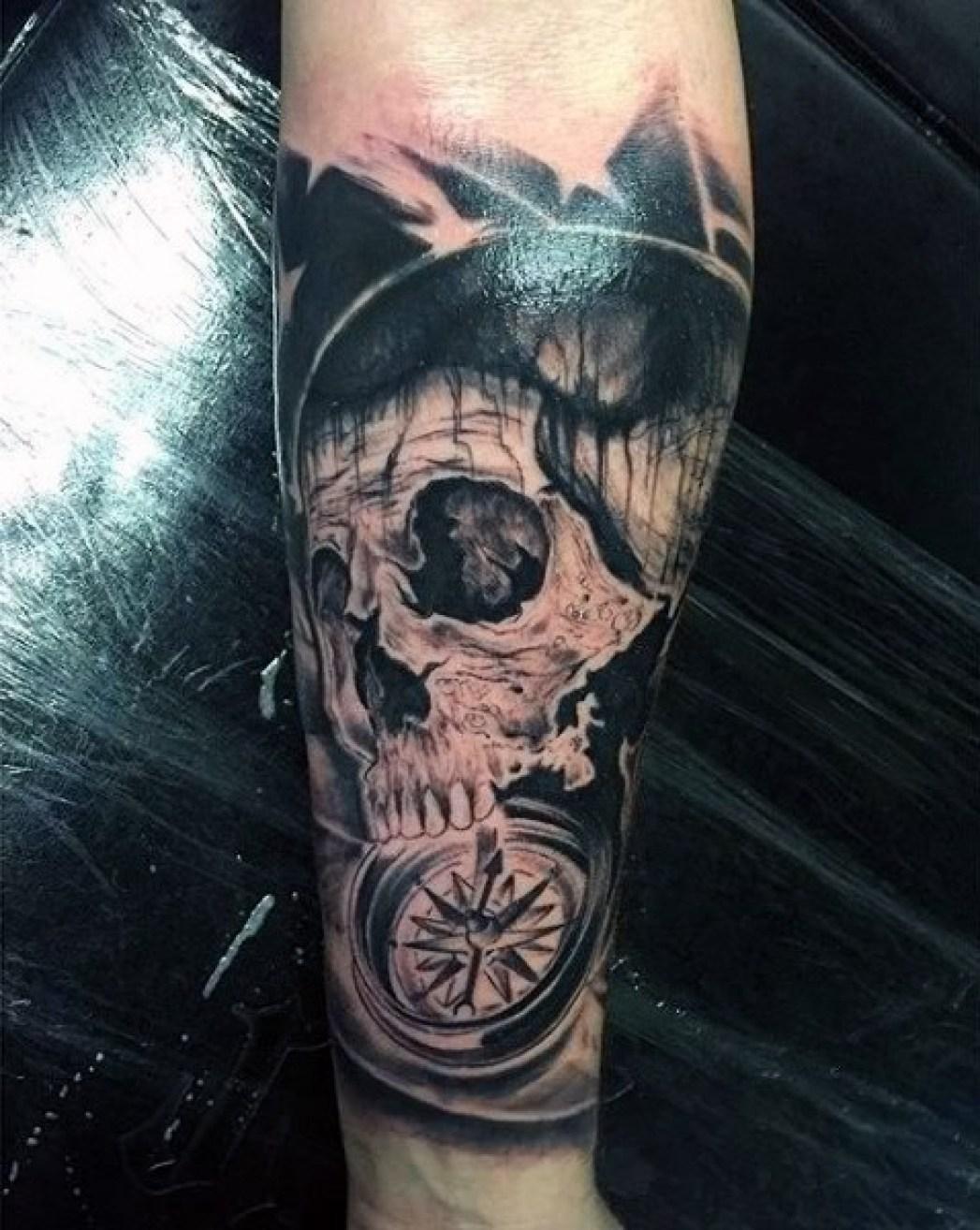 Compass & Skull Tattoo