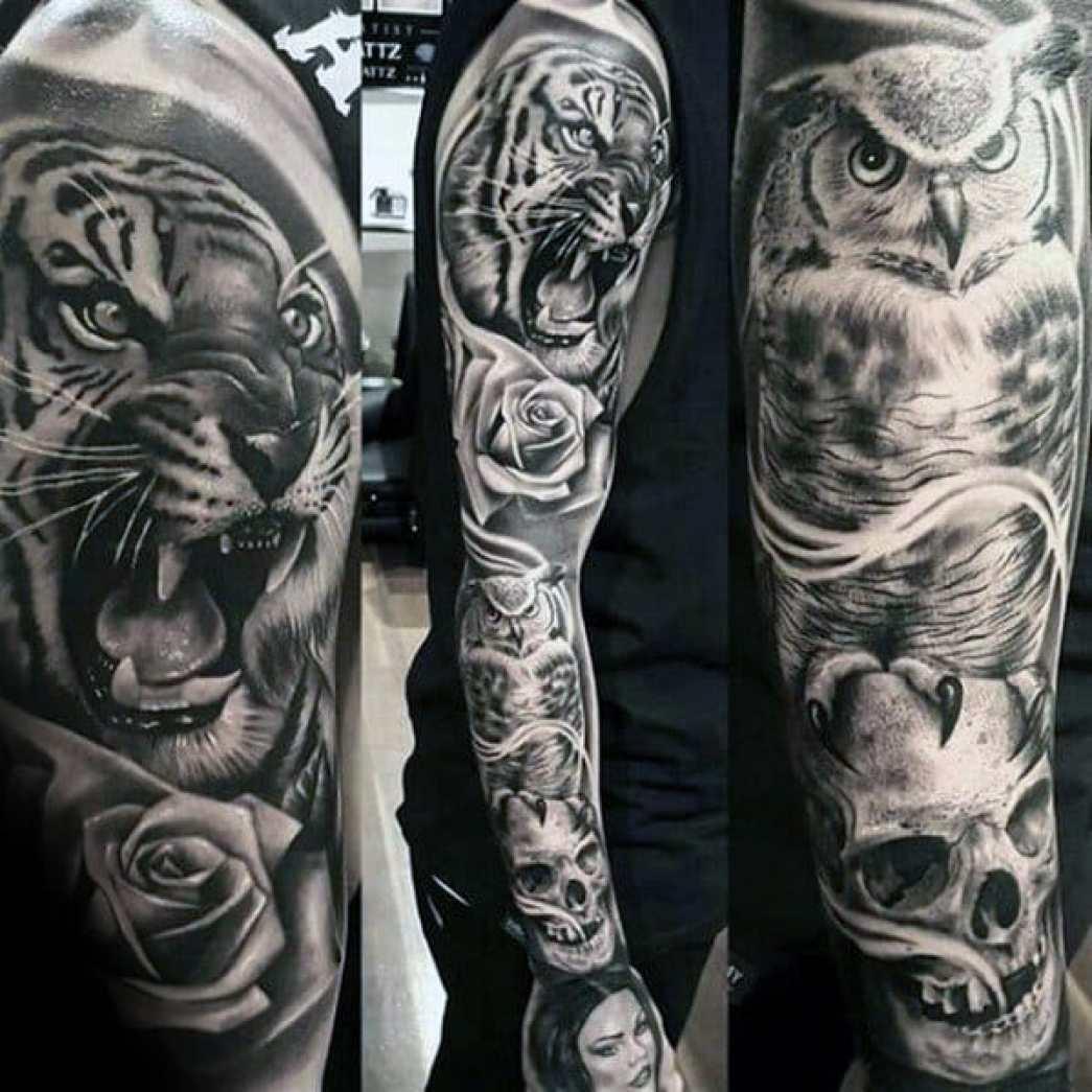 Full Owl Sleeve Tattoo
