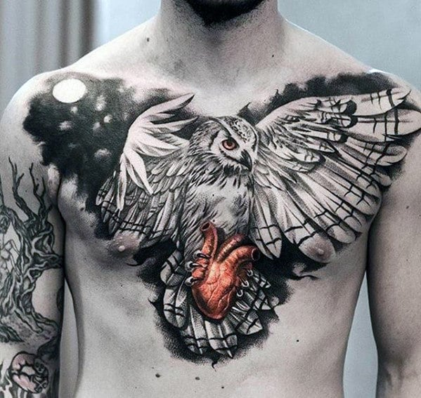 Owl Flying with Heart Tattoo