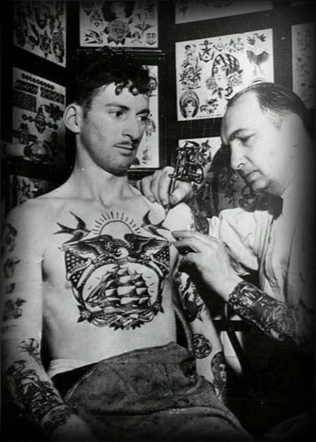 mens vintage chest tattoo
